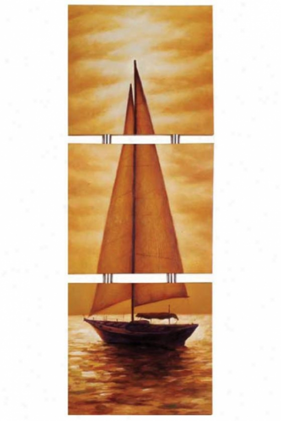 """triple Sail Wall Cunning - 69""""hx22""""w, Multi"""
