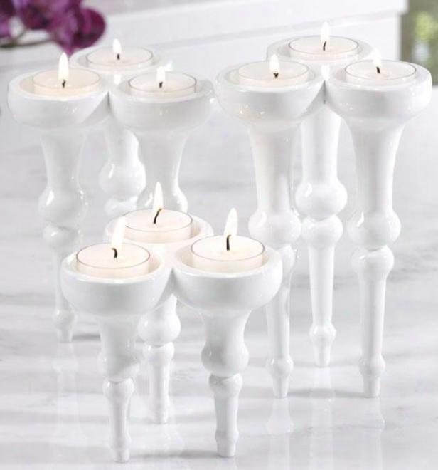 Triple Tealight Holders - Set Of 3 - Set Of 3, Pure