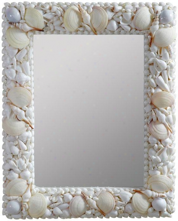 """triton  Sea Take out of the ~ Mosaic Wall Mirror - 31""""hx25""""w, Seashell"""