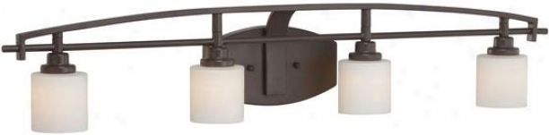 Truman Curved 4-light Vanity Light - 4-light/curved, Western Bronze