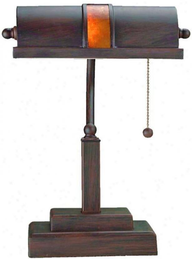 """trust Banker's Lamp - 13.5""""hx10""""sq, Bronze"""