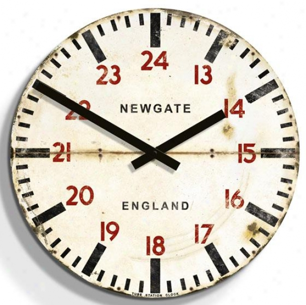 """tube Statiion Wall Clock - 19.75""""d, White"""