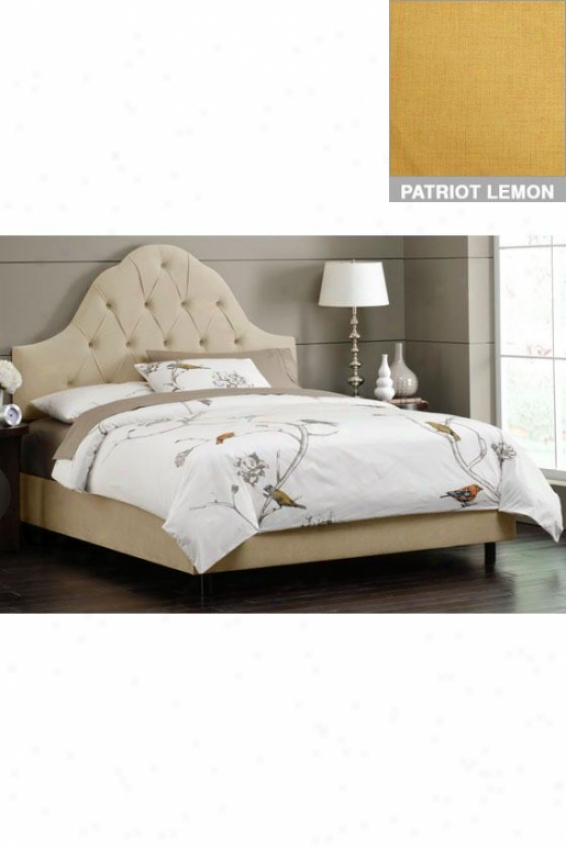 Tufted Arch Upholstered Bed - Cali King, Patriot Lemon