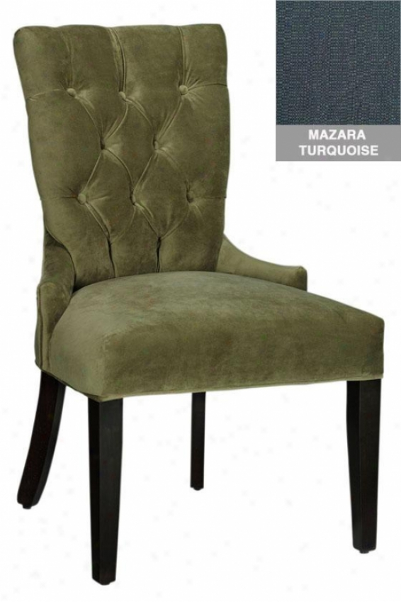 Tufted-back Dining Chair - Shiny Chrm Nlhd, Mazara Trqs