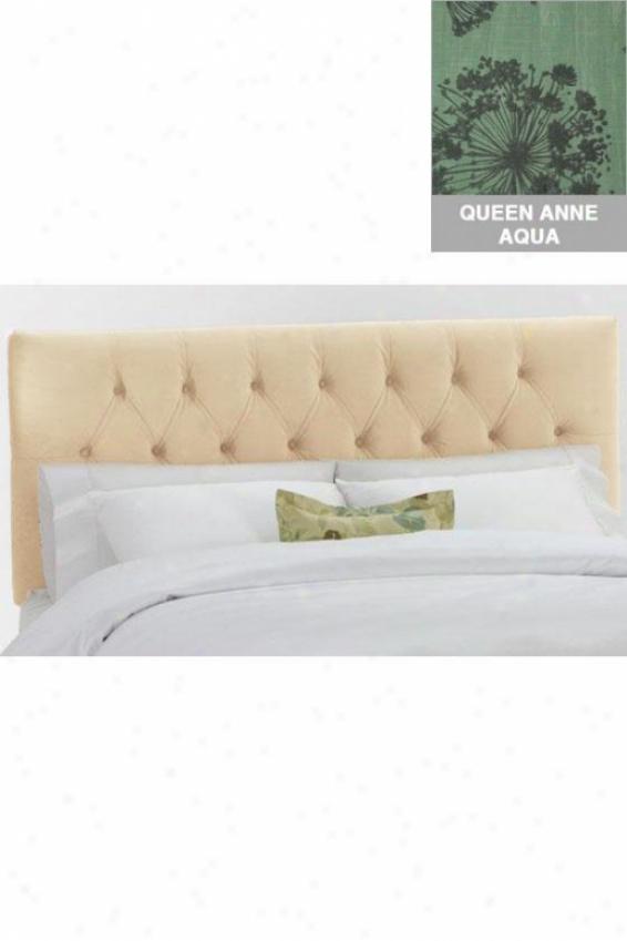 Tufted Custom Headboard - King, Qn Anne L-aqua