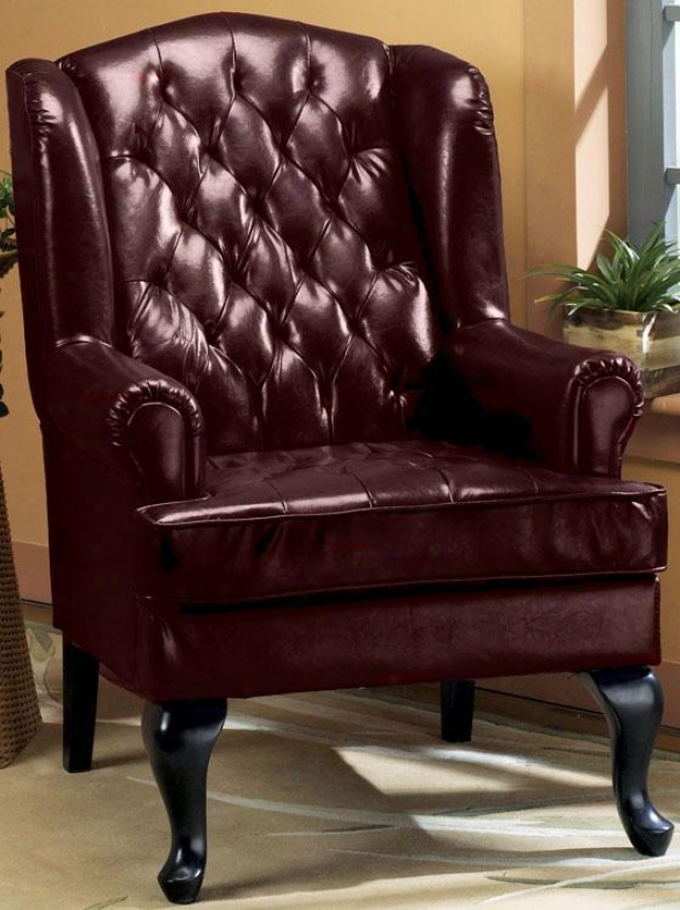 """""""tufted Wing Chair - 45""""""""h, Burgundy"""""""