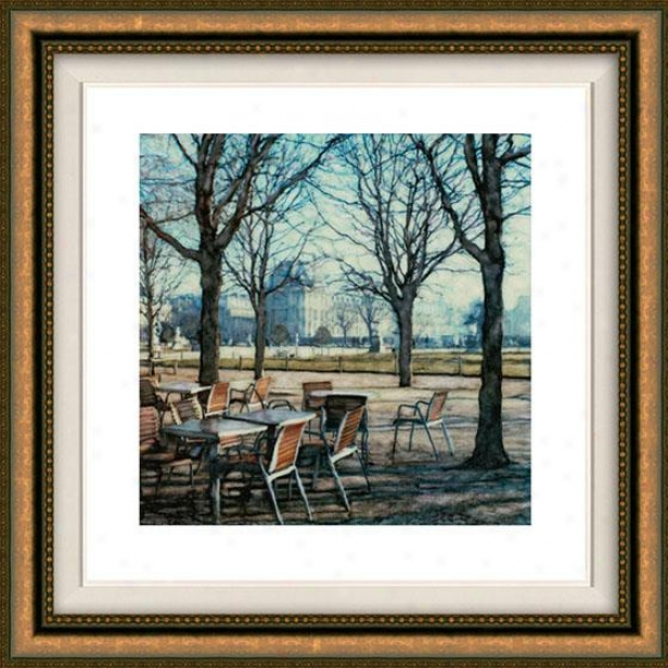 """tuileries Framed Wall Art - 32""""hx32""""w, Floated Gold"""
