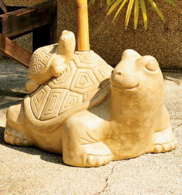 Turtle Companion Umbrella Stand - 12hx16wx22d, Sandstone Beige