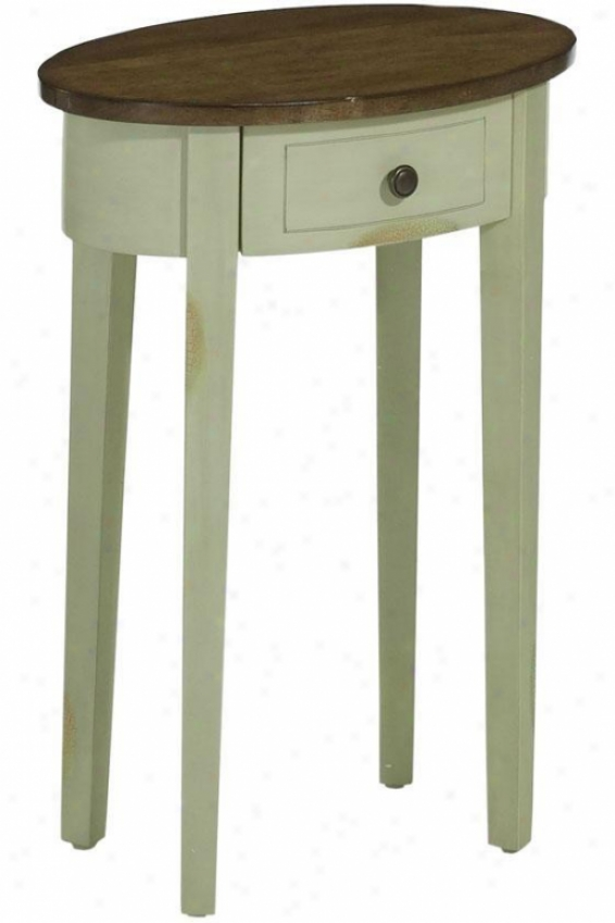 """tuscany Oval Accent Table - 21""""w, Tobacco/a Green"""
