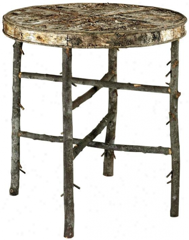 """twiggy Accenf Verge Table - 26.5""""hx24.25""""d, Birch/iron"""