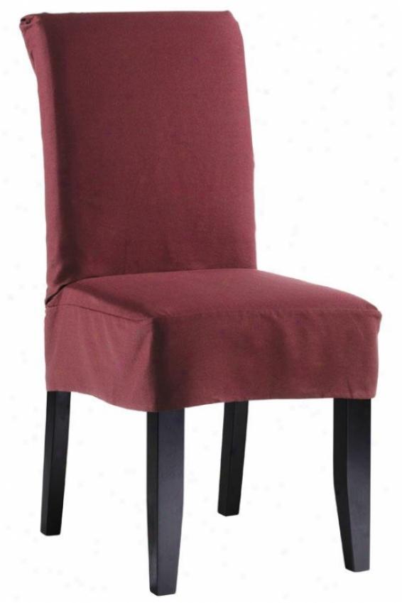Twill Short Chair Slipcover - Short, Maroon