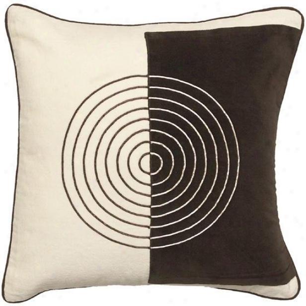 """twist And Turn Pillow - 18""""x18"""", Ecru/chooclate"""