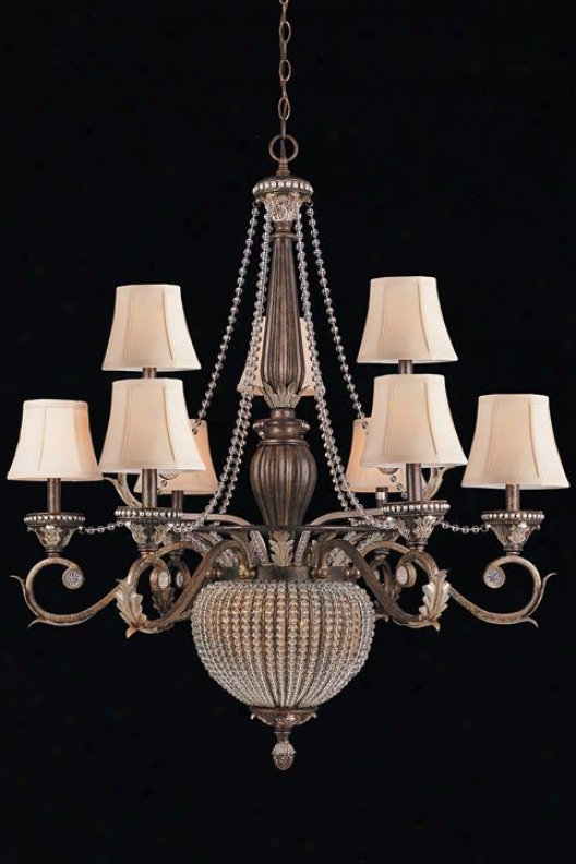 """two-tier Paris Flea Chandelier - 41""""hx36""""w, Brown Metal"""