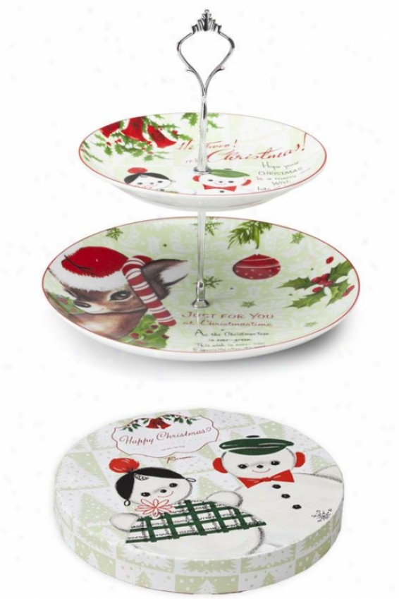 """two-tiered Christmas Tray - 10""""hx10""""w, Holiday"""
