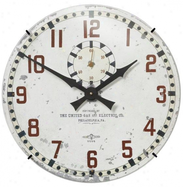 """united Gas & Electric Wall Clock - 18 X 18 X 3"""", White"""