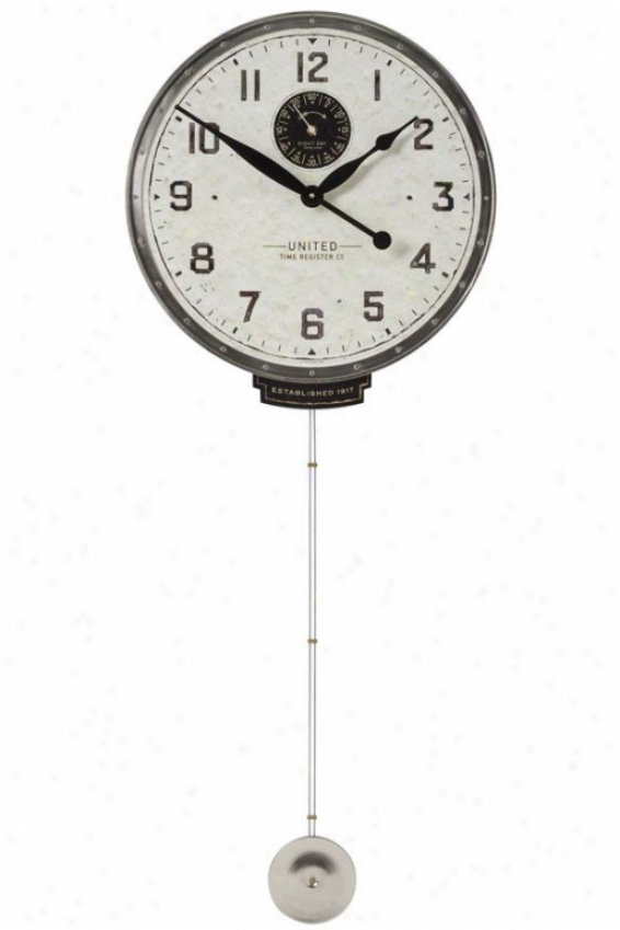 """united Time 18"""" Wall Clock - 45 X 18 X 3""""d, White"""