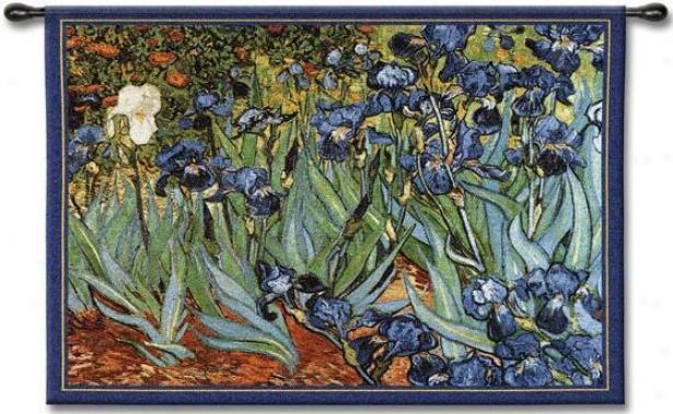 """van Gogu's Irises Tapestry - 38""""hx53""""w, Multi"""