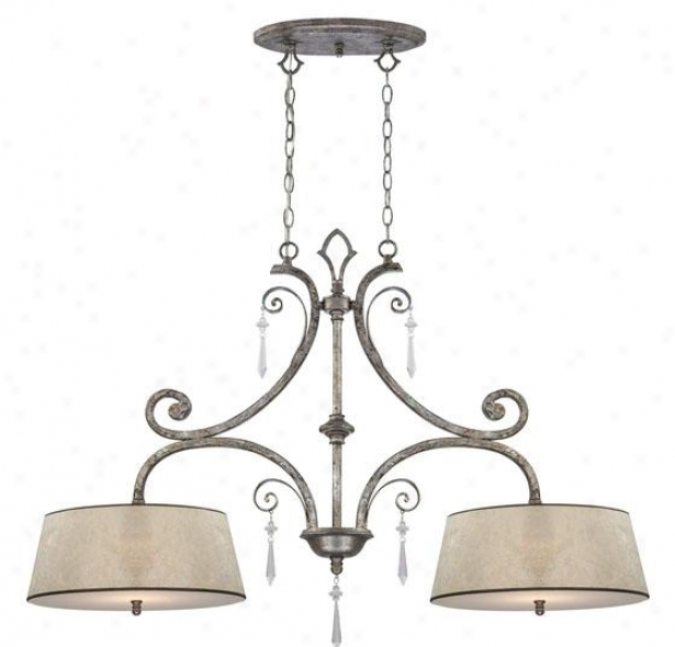 Vanessa Island Chandelier - 2-light, Mottled Siover