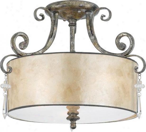 Vanessa Semi-flush Mount - 3-light, Variegated Silver