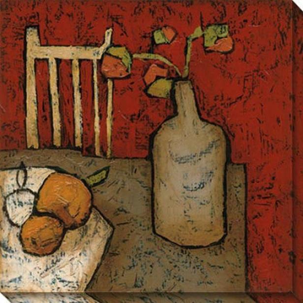 Vase With Fruit Ii Canvas Wall Art - Ii, Red
