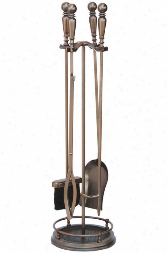 """venetian 5-piece Fireplace Tool Set - 32""""hx9""""w, Bronze"""