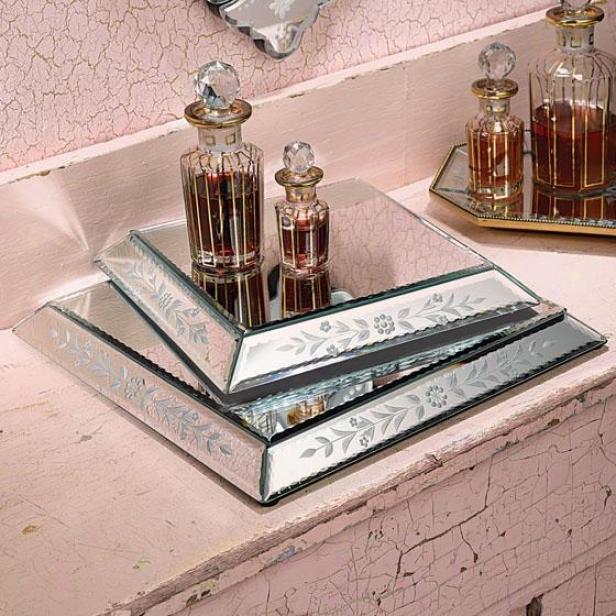 Venezia Hanfetched Glass Pedestals - Set Of 2 - Set Of 2, Silver
