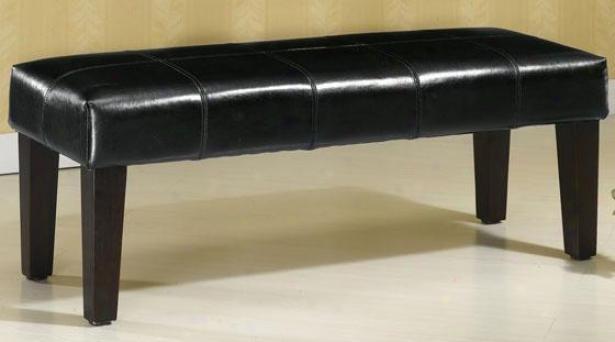 """venezia Leather Bench - 48""""w, Black"""