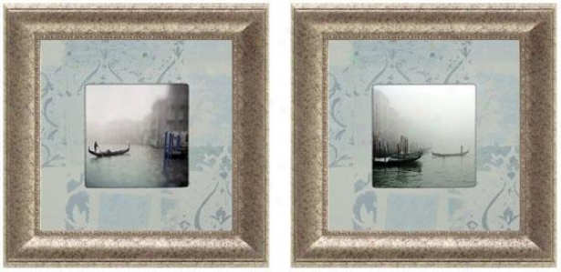 Venezia Romantica Framed Wall Art - Set Of 2 - Set Of Two, Blue
