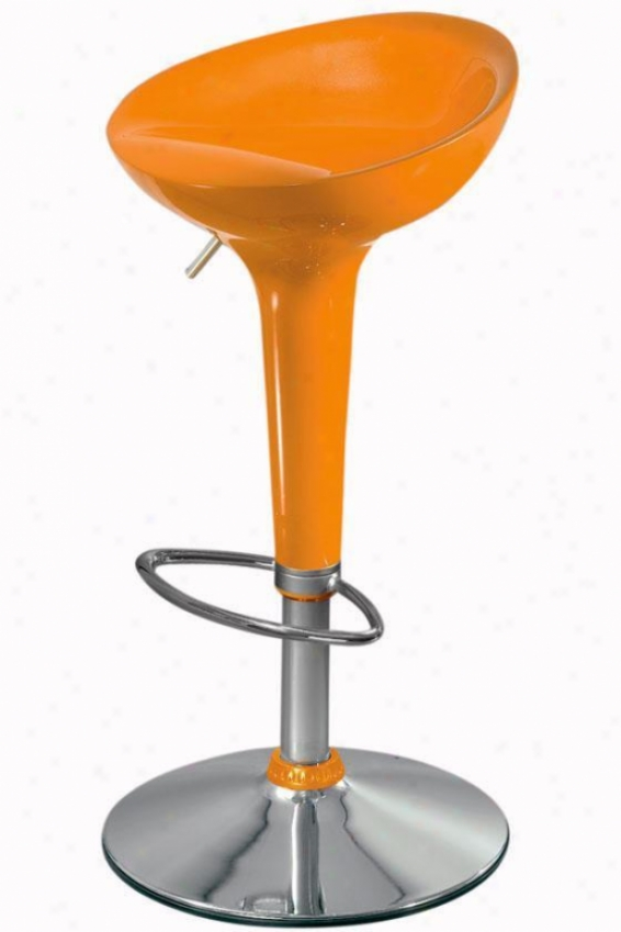 Ventura Adjustable-height Stool - Orange, Silver