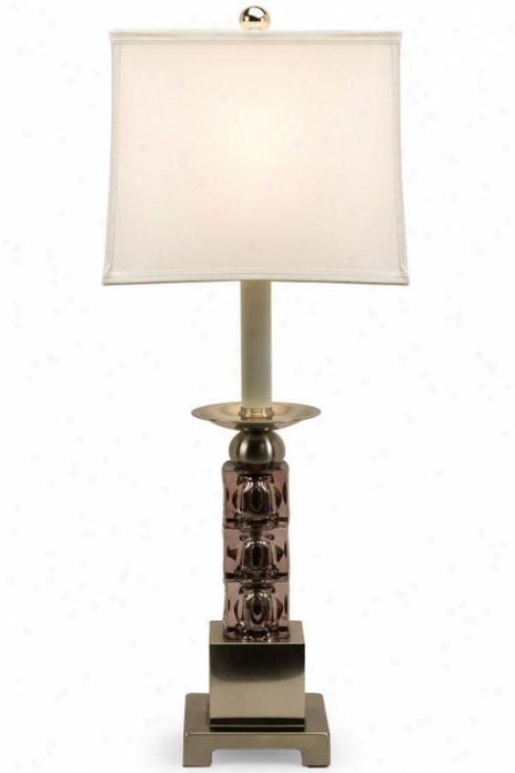 """vertex Glass Block Table Lamp - 26""""hx12""""d, Silver"""