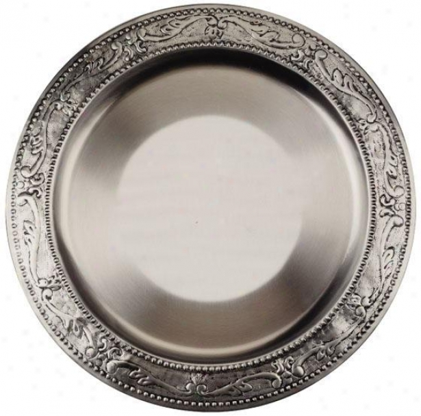 Victoria Old Embossed Charger Plates - Set Of 6 - Set Of 6, Gray