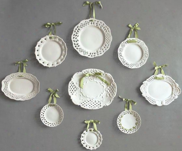 Victoria Pierced Plates - Set Of 9 - Set Of 9, White