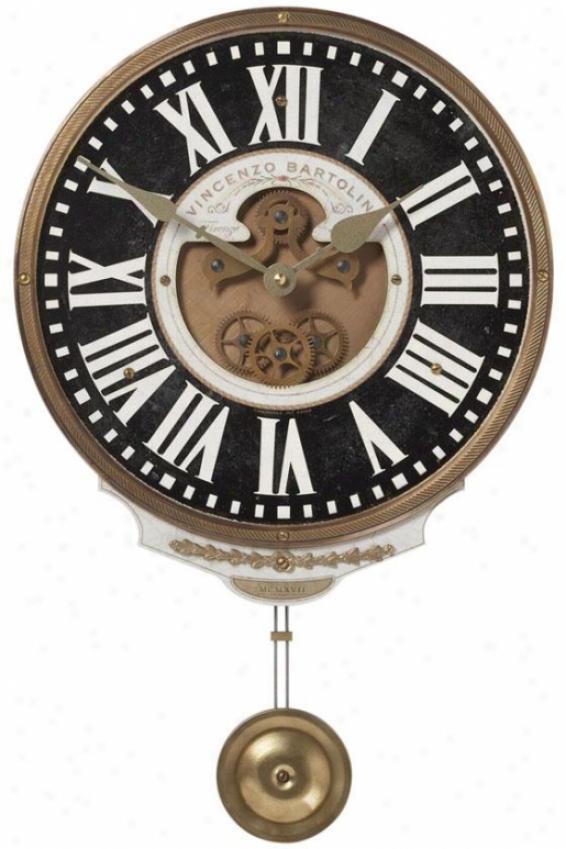 """""""vincenzo Bartolini Wall Clock - 11 X 17 X 2""""""""d, Wtherd Wh/brass"""""""