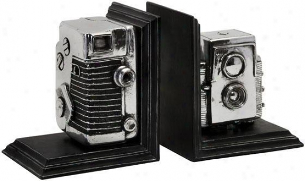 Vintage Camera Bookends - Set Of 2 - Set Of 2, Silver