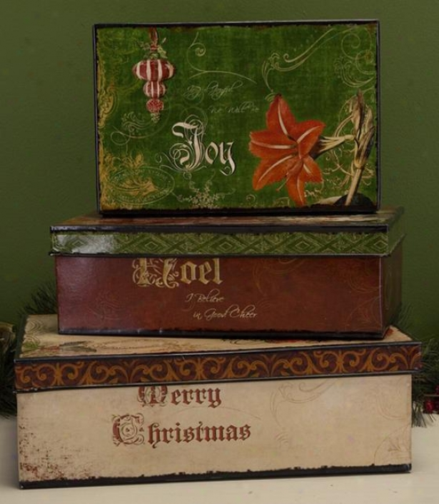 """vintage Christmas Box - Set Of 3 - 5.5""""hx10""""w, Red"""