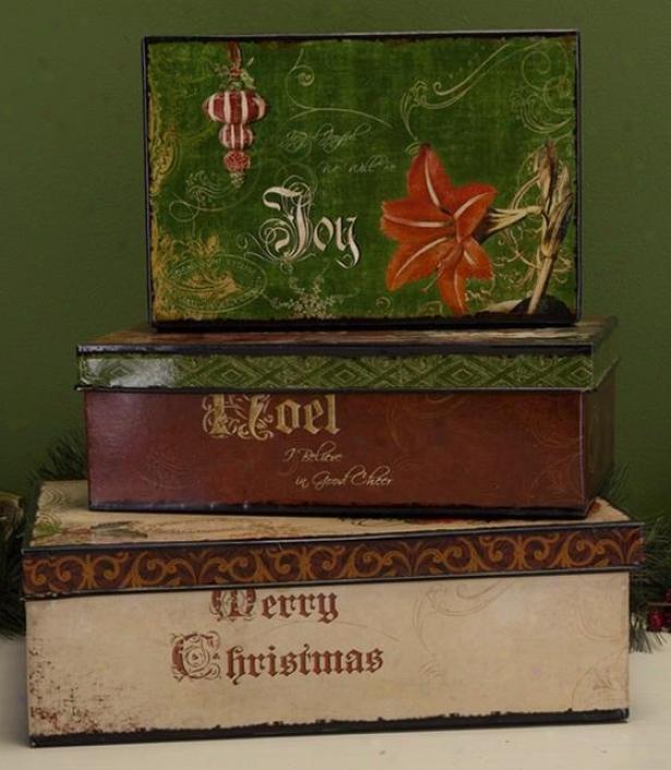 """vintage Christmas Box - Set Of 3 - 5.5""""hx10""""w, Red"""