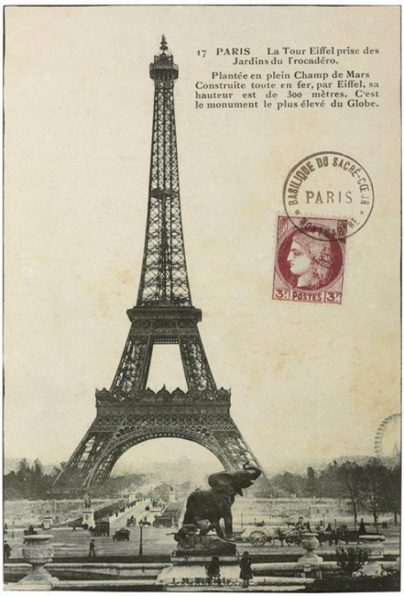 """vintage Eiffel Tower Wall Art - 36""""hx24"""", Ivory"""