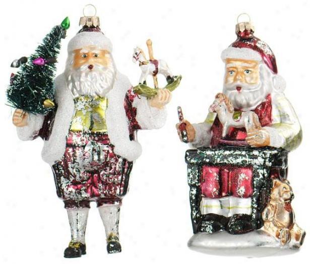 """vintage Santa Ornaments - Set Of 2 - 13""""x6.5""""x3.4, Multi"""