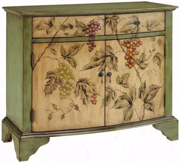 """vintage Vin Cabinet - 34""""hx40""""w, Grape Pattern"""