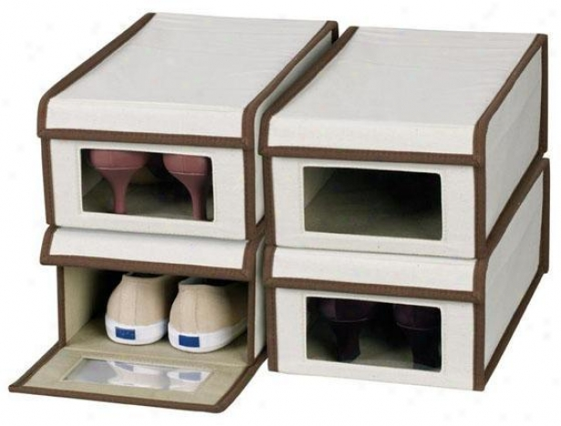 Vision Shoe Box - Set Of 4 - Set Of 4, Brown