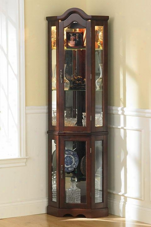 """vitric Lighted Curio - 70""""hx21""""wx16""""d, Maroon"""