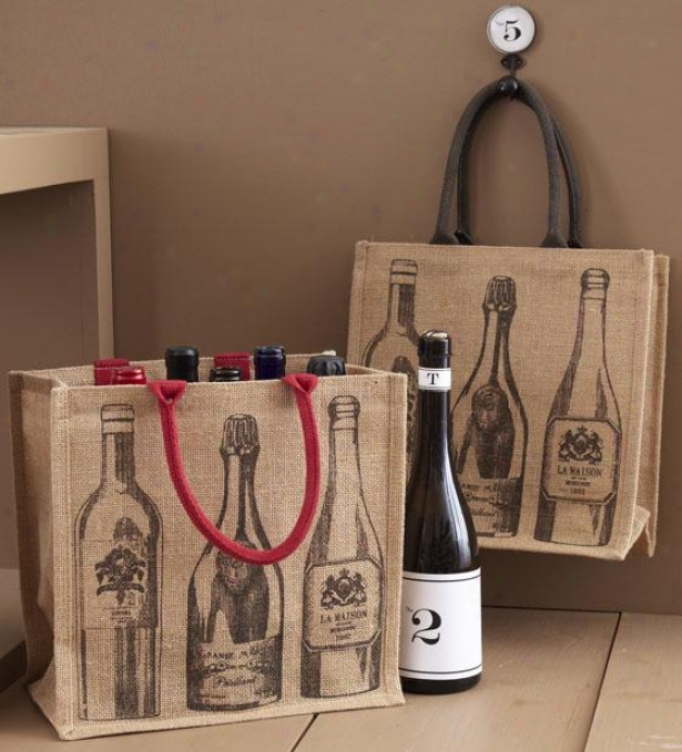 Viva Vino Bottle Totes - Set Of 2 - Set Of Two, Ivory