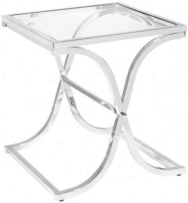 Vogue Side End Table - End, Silver Chrome
