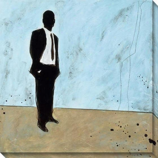 """waiting Canvas Wall Art - 40""""hx40""""w, Blue"""