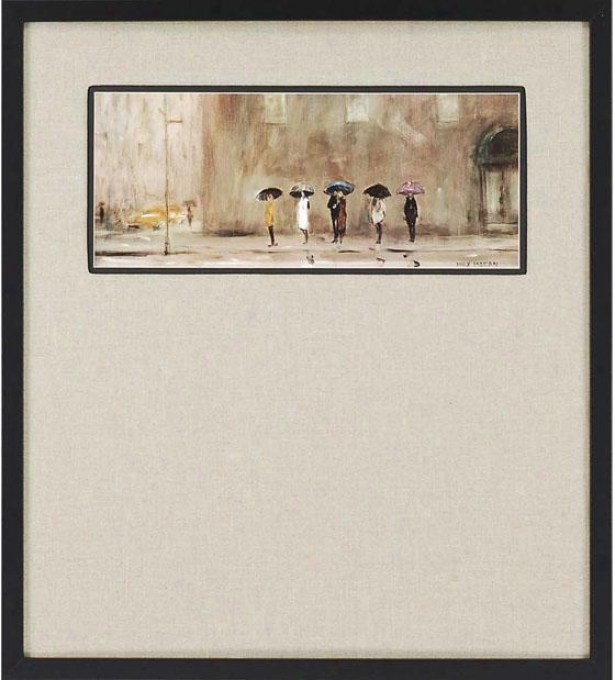 """waiting For A Cab Framed Wall Art - 38""""h X 34""""w, Beige"""