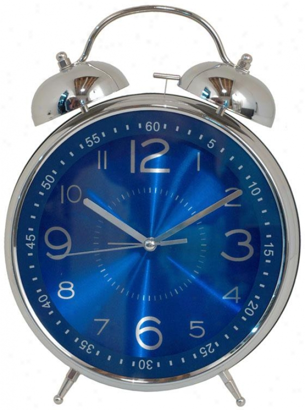 """walker Twin Bell Alarm Clock - 12hx8.5wx3.25""""d, Blue"""