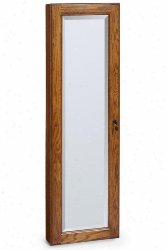 """wall-mount Jewelry Cabinet - 48""""hx14.5""""w, Tan"""