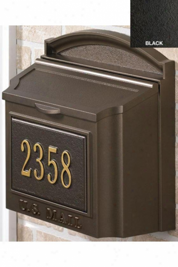 Wall Mount Personalized Mailbox - One Line, Black
