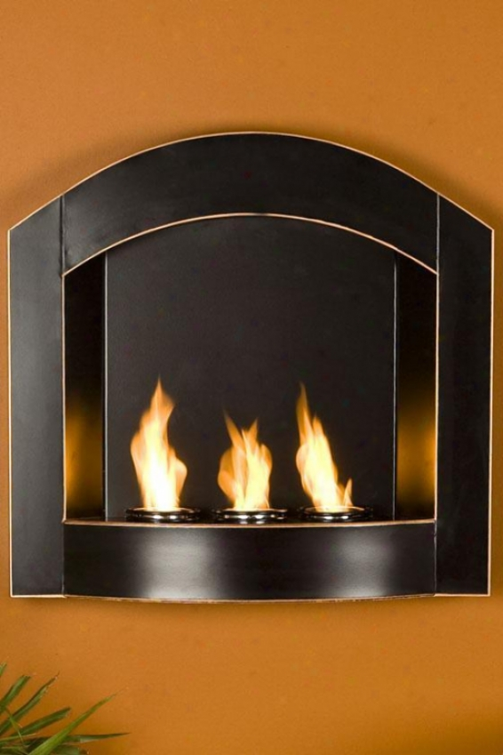 Wall-mounted Indoor/outdoor Arched Rise above Fireplace - Arched Top, Black