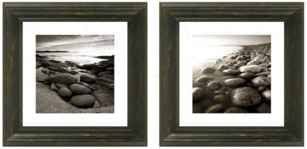Washed Ashore Framed Wall Art - Set Of 2 - Set Of Two, Black
